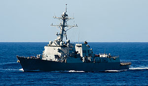 US Navy 120212-N-OY799-579 The Arleigh Burke-class guided-missile destroyer USS Dewey (DDG 105) transits the Pacific Ocean.jpg