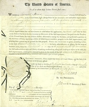 Samuel Morey - Image: US Patent 306X color page 1
