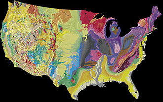 Geography of the United States - A physiographical map of the contiguous 48 states of the U.S. The map indicates the age of the exposed surface as well as the type of terrain.