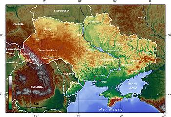 Español: Mapa topográfico de Ucrania