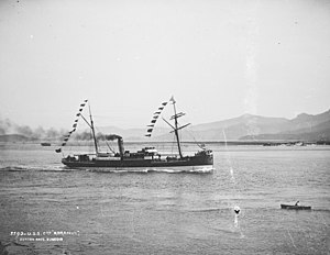 Ferries in Wellington - Collier Koranui passing Taiaroa Heads under the Union Steam Ship flag