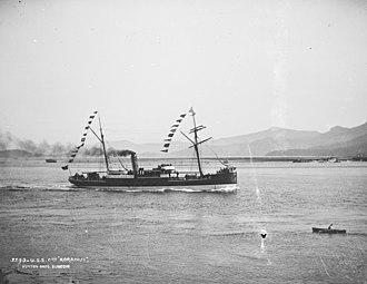 Ferries in Wellington - Collier Koranui passing Taiaroa Heads under the Union Steam Ship flag