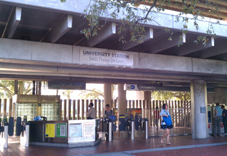 University station (Miami-Dade County) - University station during morning commute, December 2013
