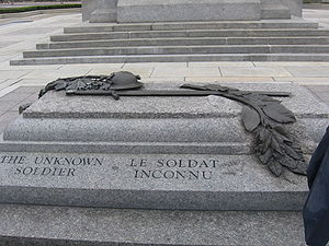 Canadian Tomb of the Unknown Soldier - The Tomb of the Unknown Soldier seen from above, the steps of the war memorial behind