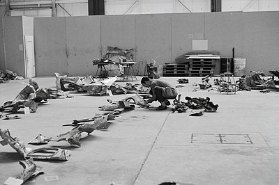 "Untersuchung der Wrackteile der Convair CV-990-30 A Coronado, HB-ICD ""Basel-Land"" nach dem Bombenanschlag am 21.2.1970"