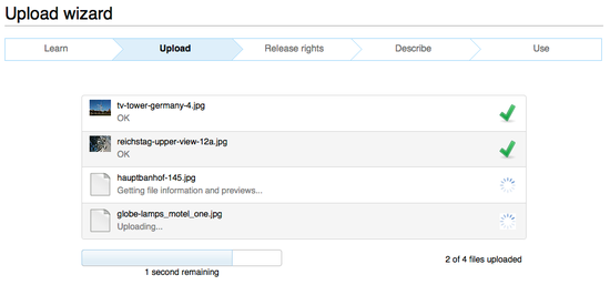 Screenshot of Upload Wizard uploading multiple files
