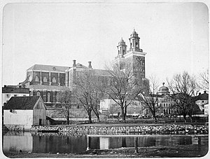 Uppsala Cathedral - A photograph of Uppsala Cathedral by Emma Schenson in around 1860, before Zettervall's restoration.