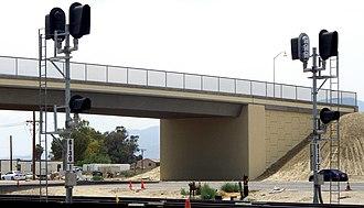 Centralized traffic control - Newly installed CTC automatic block signals along the Union Pacific Railroad Yuma Subdivision, Coachella, California
