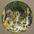 Urbino, orazio fontana, piatto con caccia al cinghiale calidonio, 1544.JPG