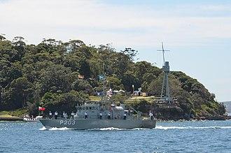Tongan Maritime Force - The Tongan patrol boat VOEA Savea (P203) underway in Sydney Harbour in 2013.