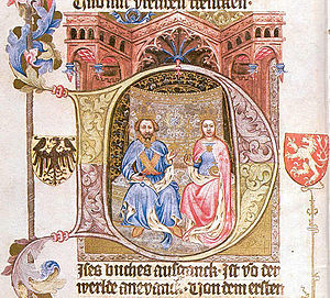 Wenceslas Bible - Portrait of the King Wenceslaus with his wife Sophia.