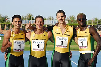 Stefano Anceschi - Anceschi (second from right side) with the Fiamme Gialle's 4 × 100 m relay.