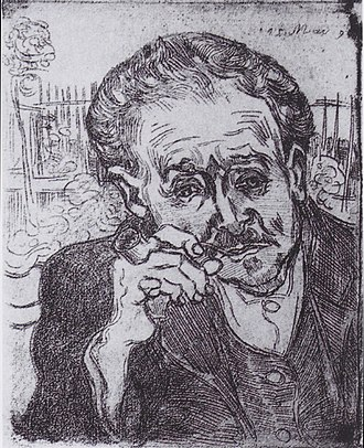 Portrait of Dr. Gachet - Portrait of Dr Gachet with Pipe, May 1890  etching, 18×15cm  (Van Gogh's only etching)