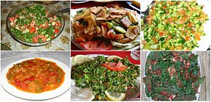 Arab cuisine - Varieties of Arab salad: Arab salad, Fattoush, Palestinian salad, Matbucha, Tabbouleh and Raheb. See: List of Arab salads.