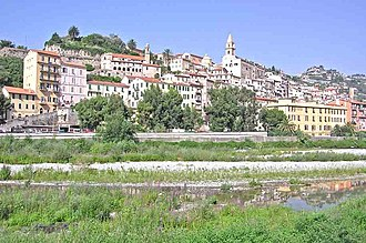 Roya (river) - The Italian city of Ventimiglia on the French border and its river, the Rojo.