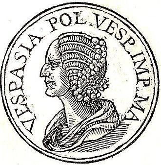"Vespasia Polla - Vespasia Polla from Promptuarii Iconum Insigniorum. The abbreviation stands for: ""Vespasia Polla Vespasiani Imperatoris Mater"", which means: Vespasia Polla, mother of Emperor Vespasianus"