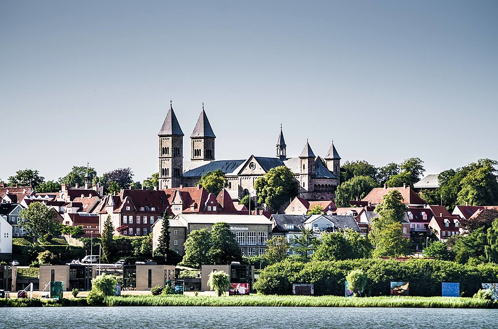View of Viborg and its monumental cathedral (Viborg Domkirke), as seen from the Søndersø lake.