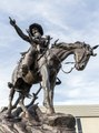 "Vic Payne's ""Memories"" sculpture, depicting a mounted cowboy and child and on loan from the private collector William F. Widger, on display in Montrose, Colorado LCCN2015632507.tif"