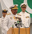 Vice Adm. Mohammad Haroon Hi, addresses the crowd during a change of command ceremony (cropped).jpg