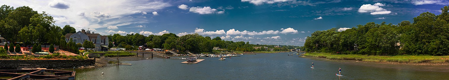 Panoramic view looking out from Saugatuck Bridge, Westport, CT, USA - 2012.jpg