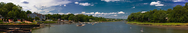 A panoramic view from Saugatuck Bridge, Westport, CT, USA
