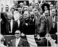 Viewing stand of parade with David Dubinsky, Nelson Rockefeller, and Robert Wagner, 1959 (5278794803).jpg