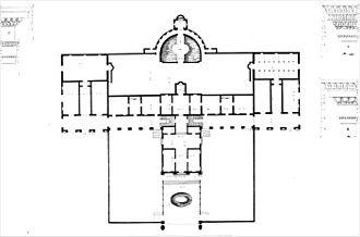 Villa Barbaro - Floor plan by (Ottavio Bertotti Scamozzi, 1781)