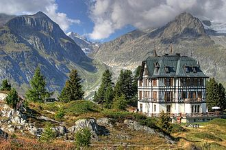 Nature center - The nature centre of Pro Natura near the Aletsch Glacier (Swiss Alps).