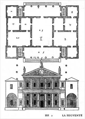 Villa Valmarana (Lisiera) - Published version of the project in I quattro libri dell'architettura