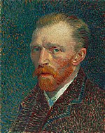 A portrait of Vincent van Gogh from the left, with an extreme intense, intent look, and a red beard.