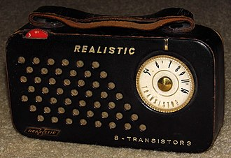Realistic (brand) - Image: Vintage Realistic 8 Leather Cased Transistor Radio, Made By Toshiba, 8 Transistors, Made In Japan, Circa 1959 (14201354714)