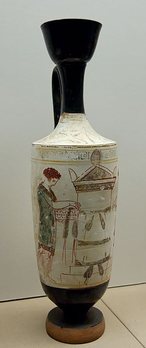 Reed Painter - Visit to a tomb on a white-ground lekythos by the Reed Painter