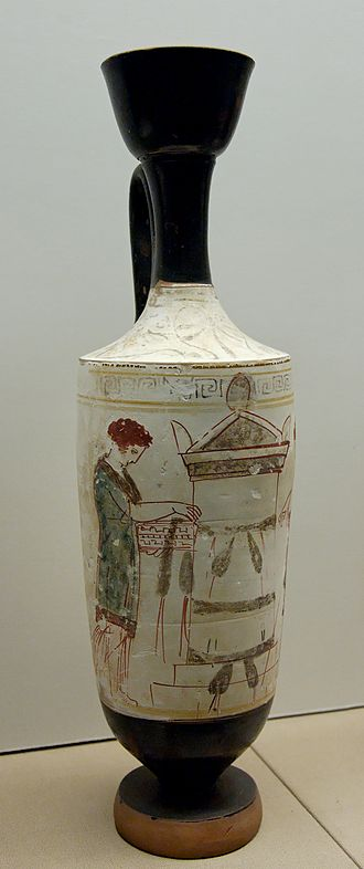 Ancient Greek funeral and burial practices - Woman tending a tomb memorial (lekythos, 420–410 BC)