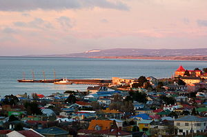 Strait of Magellan - The County of Peebles and Cavenga are used as a breakwater for the harbour at Punta Arenas.