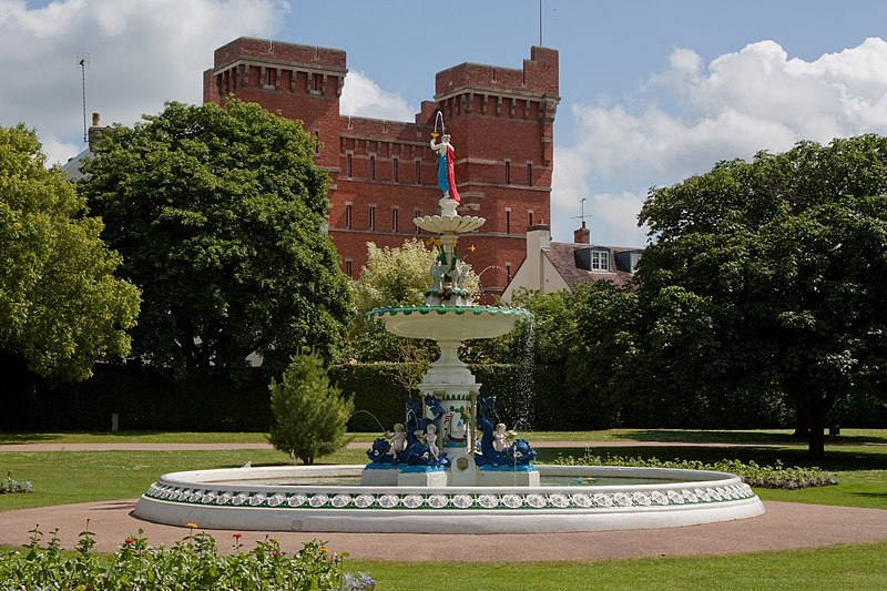 Unveiled in 1907, this brightly painted fountain was commissioned as a memorial to the late Queen Victoria. It stands in Vivary Park, Taunton, Somerset.