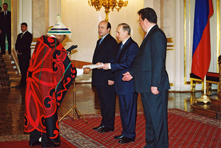 Tekiso Hati, Ambassador of the Kingdom of Lesotho, presenting his credentials to Russian president Vladimir Putin Vladimir Putin with Tekiso Hati.jpg