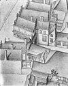 vogelvlucht b.f. van berckenrode (1631) detail poort aan de kalverstraat - amsterdam - 20014081 - rce