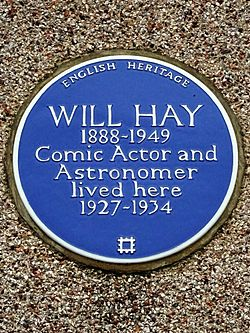 Will hay 1888 1949 comic actor and astronomer lived here 1927 1934