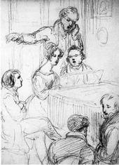 Franz Schubert im Freundeskreis, Bleistift auf Papier, 18,1 × 12,2 cm (Albertina, Wien, Graphische Sammlung, Inv. Nr. 25446) (Quelle: Wikimedia)