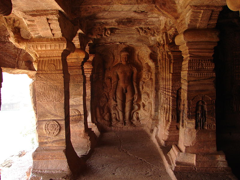 File:Wall relief1 in the Jain cave temple no. 4 in Badami.JPG