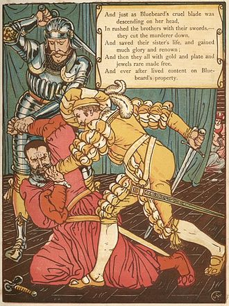 Bluebeard - Bluebeard is slain in a woodcut by Walter Crane
