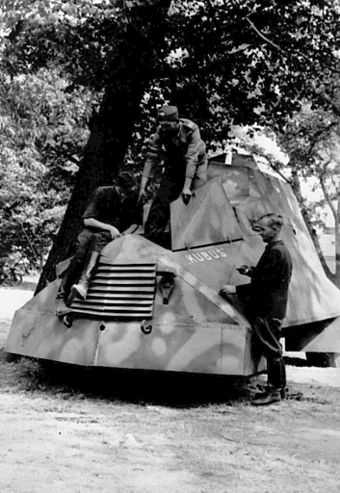 "Kubus, an armoured car made by the Home Army during the Uprising. A single unit was built by the ""Krybar"" Regiment on the chassis of a Chevrolet 157 van. Warsaw Uprising - Kubus.jpg"