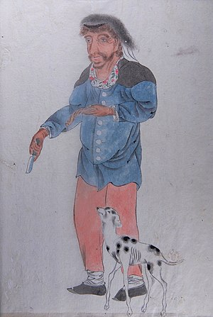 Cyprus mutiny - A watercolour by samurai Makita Hamaguchi showing one of the mutineers with a dog from the ship