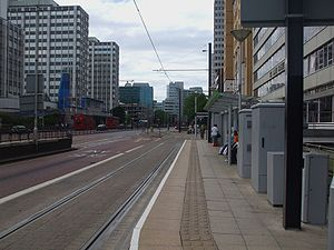 Wellesley Road tram stop - Wellesley Road: platform looking north