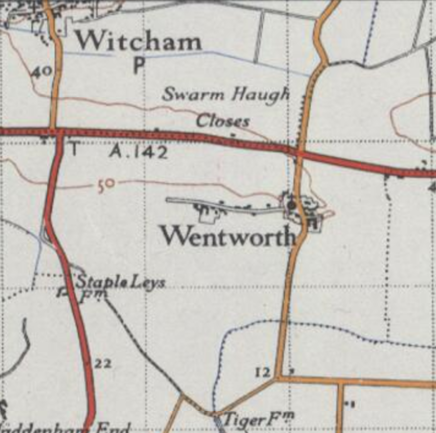 Ordnance survey 20th century map of Wentworth, Cambridgeshire