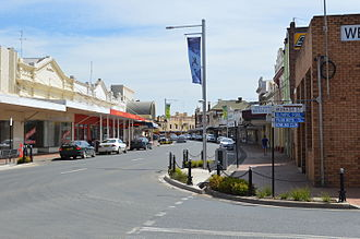 West Wyalong (Drysdale) - The view from outside the Tattersalls Hotel in West Wyalong in 2015 - where in 1949 Drysdale drew the sketch of Main Street that would later be used to paint the work