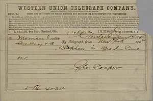 Stephen Foster - Telegram that communicated Stephen Foster's death addressed to his brother Morrison Foster