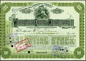 Westinghouse Electric Corporation - Share of the Westinghouse Electric and Manufacturing Company, issued 31. March 1910