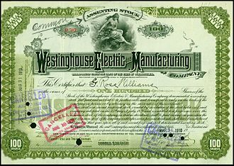 Westinghouse Electric Corporation - Share of the Westinghouse Electric and Manufacturing Company, issued March 31, 1910