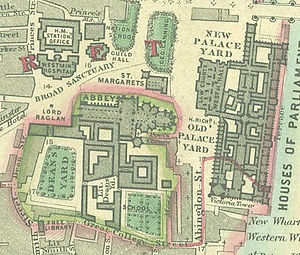 Westminster Hospital - Image: Westminster Hospital location Stanford map of London 1862